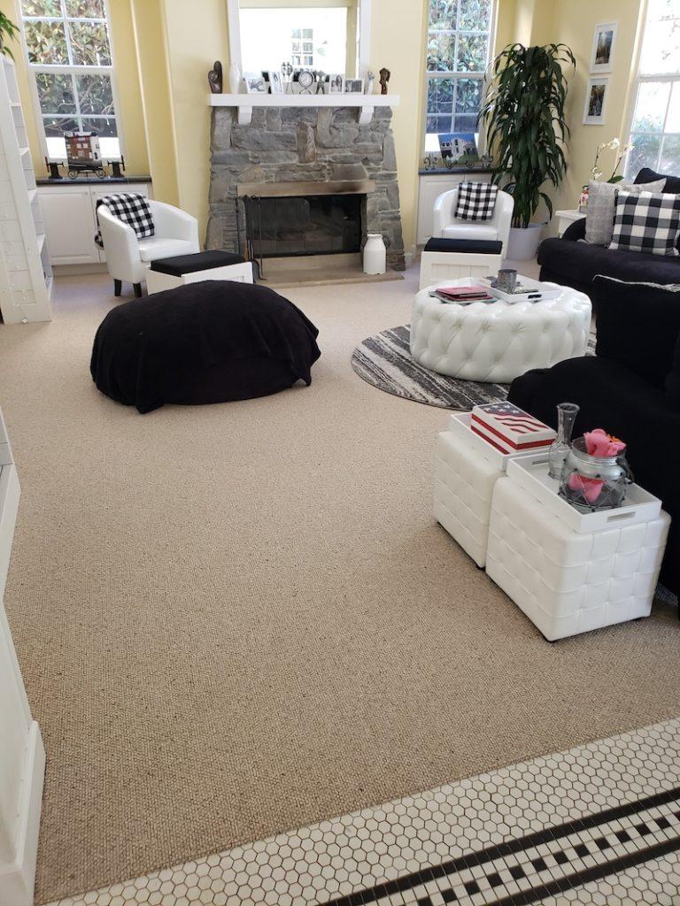 family room carpet flooring before