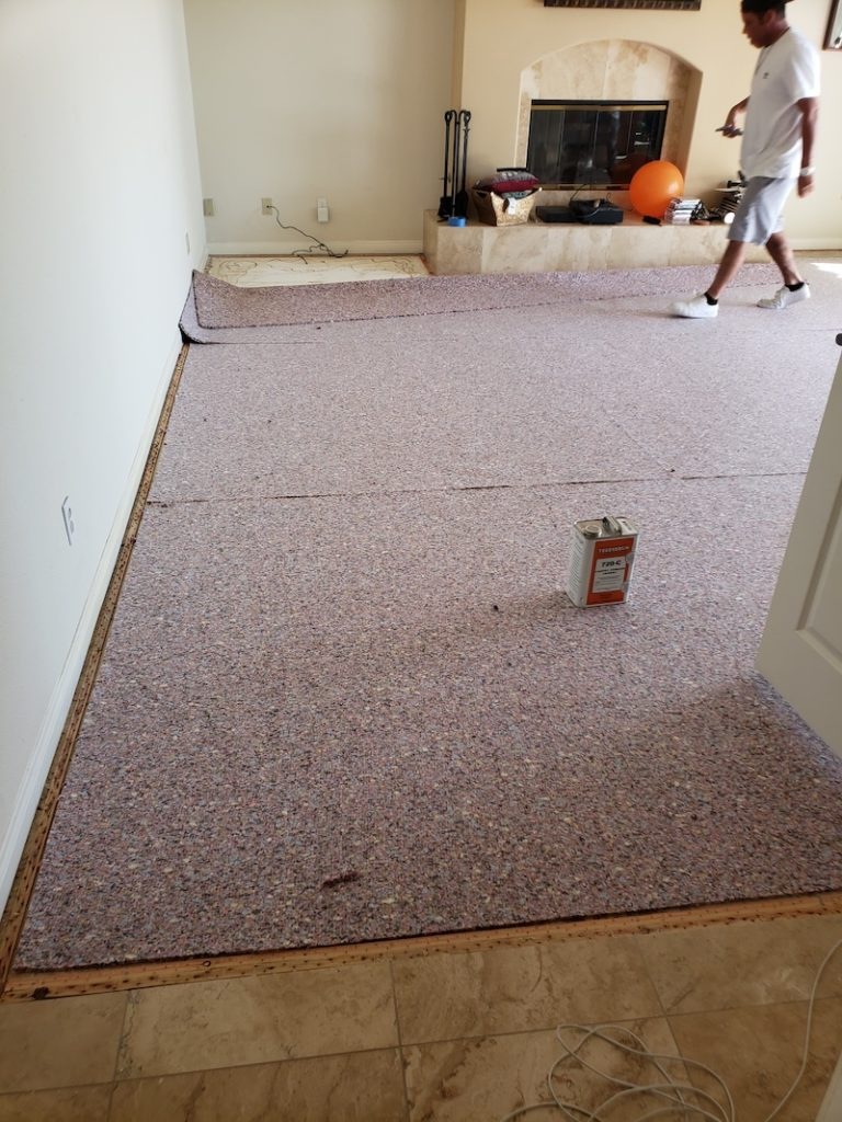 Family room carpet installation